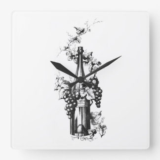 1873 Vintage Wine Bottle with Grapes and Leaves Square Wallclock