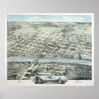 1873 Waco, mapa panorámico de la opinión de ojo de Póster