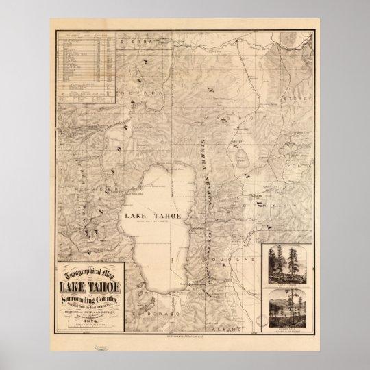 1874 Map of Lake Tahoe Area California & Nevada Poster