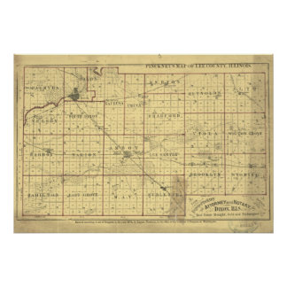 1874 Map of Lee County Dixon Illinois Posters