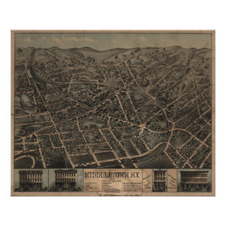 1874 Middletown, NY Birds Eye View Panoramic Map Poster