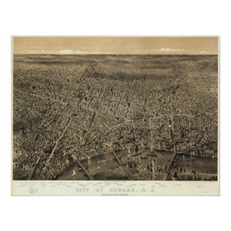 1874 Newark, mapa panorámico de la opinión de ojo  Poster