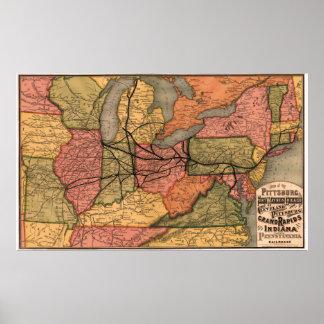 1874 Pennsylvania Railroad Map Poster