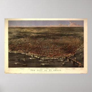 1874 St. Louis MO Birds Eye View Panoramic Map Poster