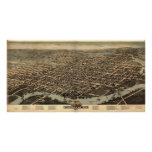 1874 Wilmington, DE Birds Eye View Panoramic Map Print