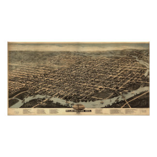 1874 Wilmington, DE Birds Eye View Panoramic Map Poster