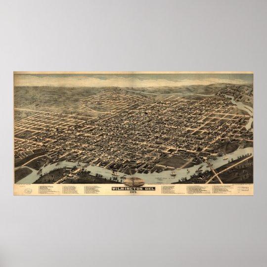1874 Wilmington, mapa panorámico de la opinión de  Póster