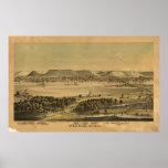 1874 Winona, mapa panorámico de la opinión de ojo  Poster
