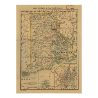 1875 Antique Rail Map of Rhode Island Posters