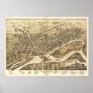 1875 Brantford, Ontario Bird's Eye Panoramic Map Posters