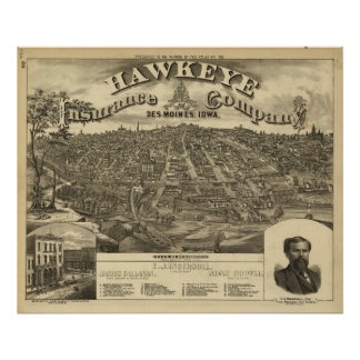 1875 Des Moines, IA Birds Eye View Panoramic Map Posters