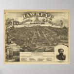1875 Des Moines, mapa panorámico de la opinión de  Poster
