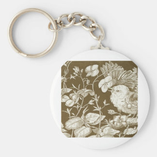 1875 little bird among the flowers drawing keychain