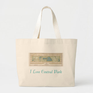 1875 Map of Central Park Large Tote Bag