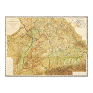 1875 Map of South West Germany Canvas Prints
