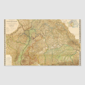 1875 Map of South West Germany Rectangular Sticker