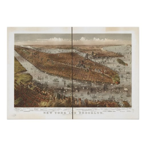 1875 New York City NY Birds Eye View Panoramic Map Poster