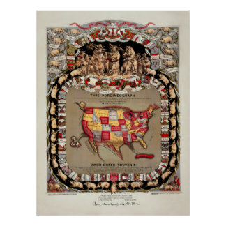 1875 PORK LOVERS MAP of the UNITED STATES Poster