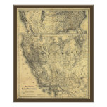 1875 Southern Pacific Railroad Map Poster