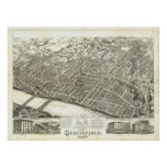 1875 Springfield, mapa panorámico de la opinión de Poster