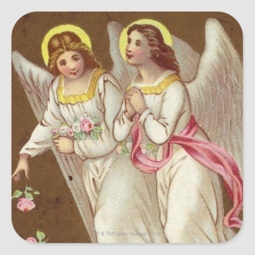 1875: Una tarjeta de felicitaciones del Victorian Pegatinas Cuadradas