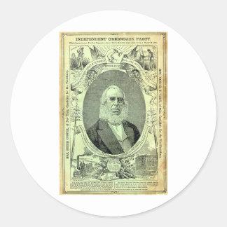 1876 Greenback Party Classic Round Sticker
