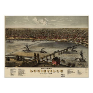 1876 Louisville, KY Birds Eye View Panoramic Map Print