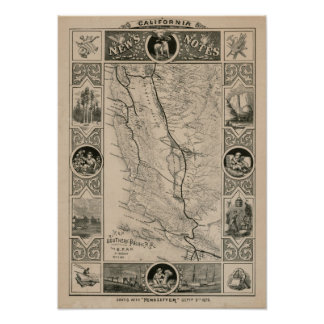 1876 Map of California Poster
