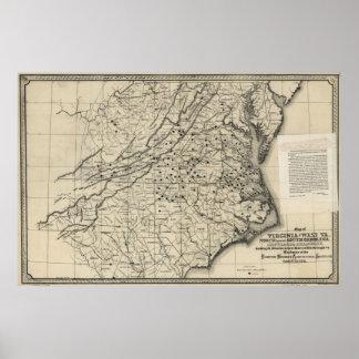 1876 Map of Virginia & West Virginia Print
