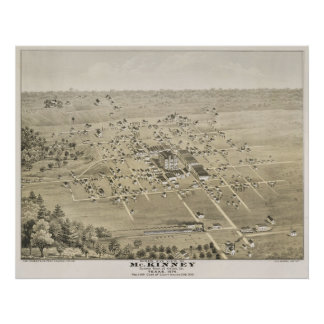1876 McKinney, TX Bird's Eye View Panoramic Map Poster