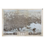 1876 New Bedford, MA Birds Eye View Panoramic Map Poster