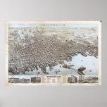 1876 New Bedford, mapa panorámico de la opinión de Póster