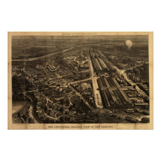 1876 Philadelphia, mapa panorámico de la opinión d Póster