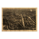 1876 Philadelphia, PA BALLOON View Panoramic Map Posters