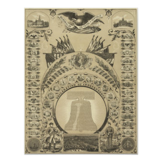 1876 Reproduction The Declaration of Independence Card
