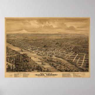 1876 Salem, OR Birds Eye View Panoramic Map Poster