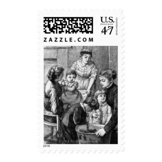 1876: The children help stir Christmas pudding Postage Stamp