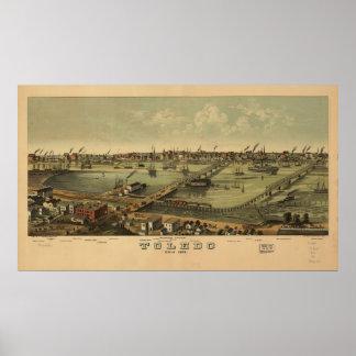 1876 Toledo, OH Birds Eye Panoramic Map Poster