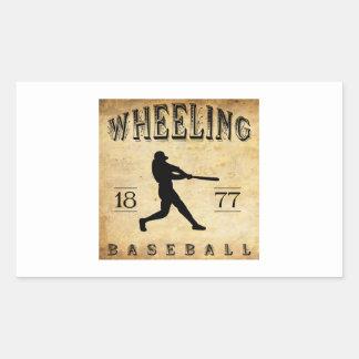 1877 béisboles de Virginia Occidental que ruedan Pegatina Rectangular
