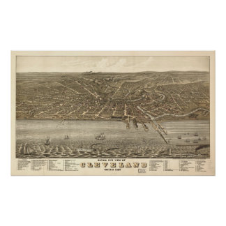1877 Cleveland OH Birds Eye View Panoramic Map Print