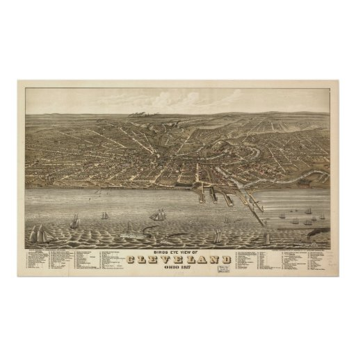 1877 Cleveland, OH Birds Eye View Panoramic Map Print