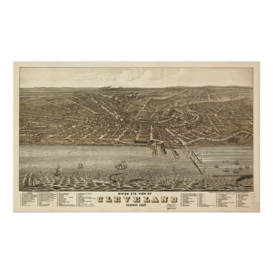 1877 Cleveland, OH Birds Eye View Panoramic Map Poster
