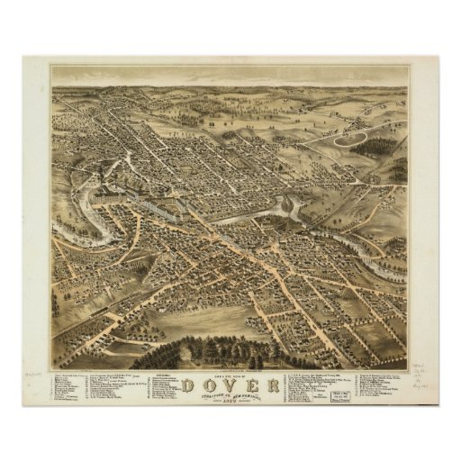 1877 Dover, NH Birds Eye View Panoramic Map Poster