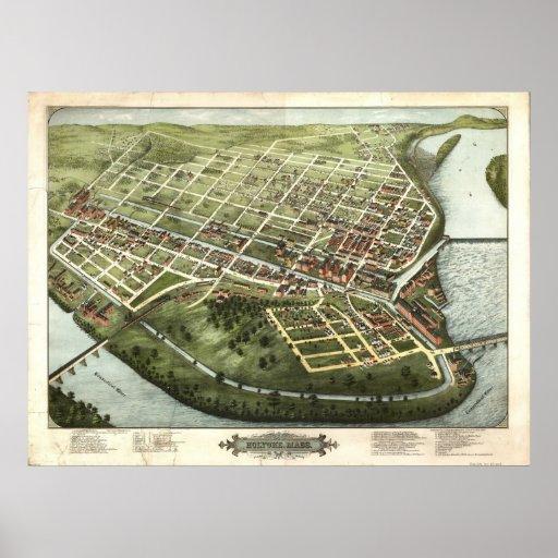 1877 Holyoke, mapa panorámico de la opinión de ojo Póster