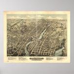 1877 Pawtucket, RI Birds Eye View Panoramic Map Poster