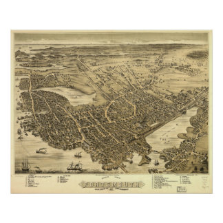 1877 Portsmouth, NH Birds Eye View Panoramic Map Poster