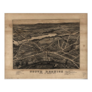 1877 South Berwick ME Birds Eye View Panoramic Map Poster