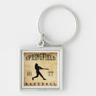 1877 Springfield Ohio Baseball Silver-Colored Square Keychain