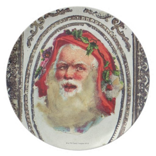 1878: A Victorian Christmas greetings card Party Plates