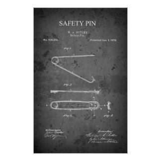 1878 BUTLER SAFETY PIN PATENT POSTER